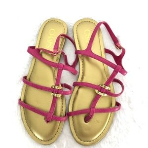 Chaps Selma Pink Gold T-Strap Thong Sandals Size 7